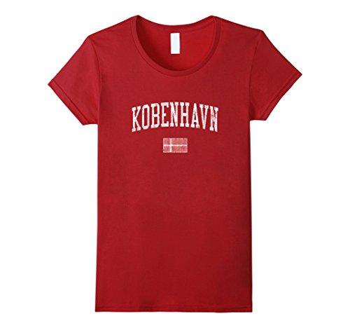 Womens Copenhagen Denmark T-Shirt Vintage Sports Design Flag Tee Medium - Shops Design Copenhagen