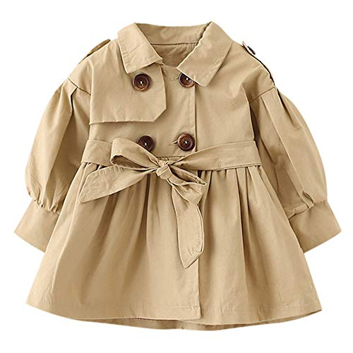 Keliay Bargain Toddler Infant Baby Boys Girls Solid Belt Bottons Trench Wind Coat Tops Outfits