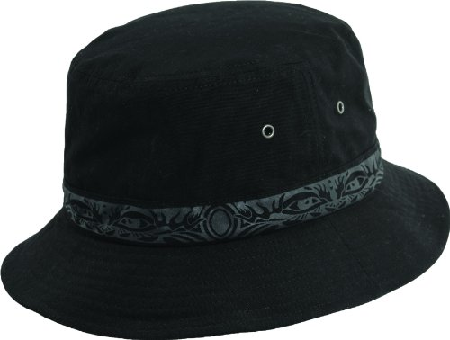 (Dorfman Pacific Global Tribal Print Boonie Bucket Hat (L, BLACK))