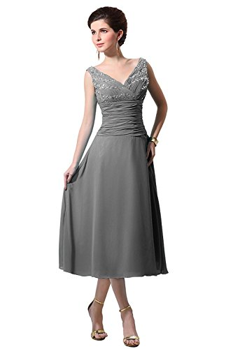 Bess Bridal Women's V Neck Chiffon Tea Length Mother Of The Bride Dress Size 24W US Steel Grey