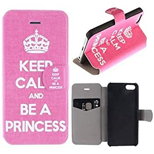 SOL Crown Keep Calm and Be A Princess Pattern Clamshell PU Leather Full Body Case with Card Slot for iPhone 5/5S