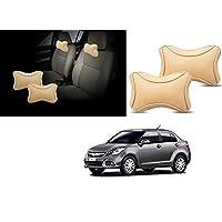 Lowrence- Premium Make Beige Designer Car Neck Rest Pillow (Set of 2 Pc) for -Maruti Suzuki - Swift Dzire New