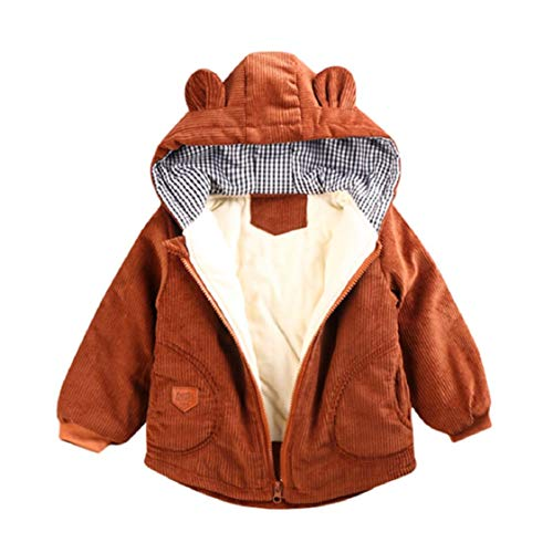 Kids Boys Girls Corduroy Hooded Coats Bear Ear Vintage Winter Jackets Long Sleeve Faux Fur Coats Cartoon Zipper Gifts