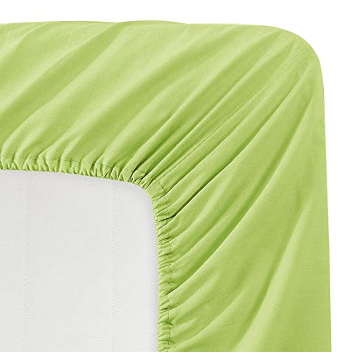 - Luxe Bedding 100% Brushed Microfiber Solid Color Deep Pocket Fitted Sheet - Hotel Quality - Wrinkle, Fade, Stain and Abrasion Resistant (Twin, Lime)