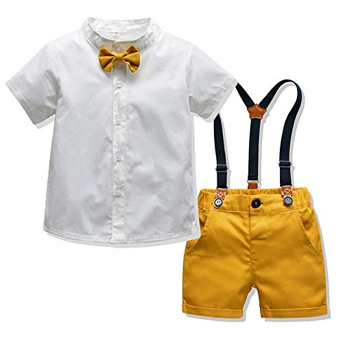 (Tem Doger Little Boys Gentleman Outfit Suits,Baby Boys Short Pants Set,Short Sleeve Shirt+Suspender Pants+Bow Tie (Yellow, 70/6-9M))