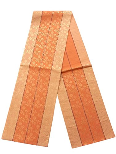 業界登録マネージャーリサイクル 袋帯  縞に笹蔓緞子 正絹 六通