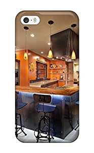 Tpu Case Cover For Iphone 5/5s Strong Protect Case - Orange Contemporary And Industrial Kitchen With Island Design(3D PC Soft Case)