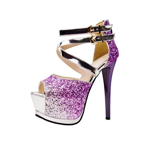 HYLM Talones femeninos de los altos talones de los altos talones impermeables de los cabritos del club nocturno de la tabla de los pescados que casan los zapatos de vestido de los zapatos purple