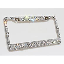 Carfond Pure Handmade 6 Row Crystal Bling Bling Rhinestones Waterproof Stainless Steel Metal License Plate Frame with 2 Holes Bonus Matching Screws &Caps (Luxury Crystal)