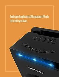 Sharper Image SBT1001BK Bluetooth Tower Speaker With Lights, FM Radio & Remote Control (Black)