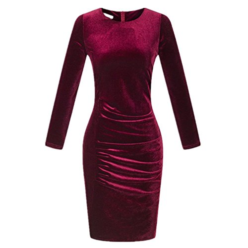 Shiratori Korea velvet gold velvet long sleeved Slim package hip dress Burgundy,X Large