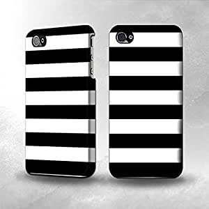 Apple iPhone 4 / 4S Case - The Best 3D Full Wrap iPhone Case - Black and White Striped