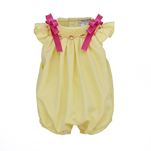 (Marakitas Baby & Toddler Girl Smocked Sleeveless Romper Jumpsuit - Handmade Embroidery - 100% Cotton (Yellow, 12 Months))
