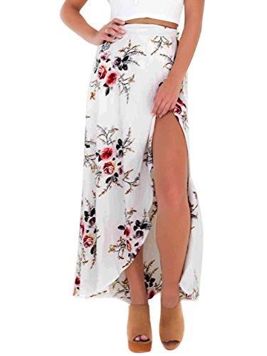 Verano Cintura Estampada Primavera Alta Floral Fiesta Aivtalk Para Asimétrica Blanco Playa Falda Noche Mujer gw88qP
