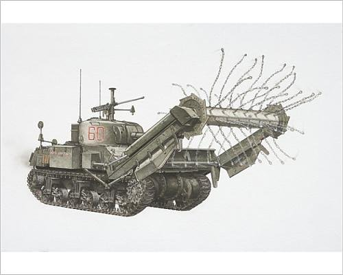 Sherman Crab Tank - 10x8 Print of American Sherman Crab, army tank with chains spinning on a cylinder (13561477)