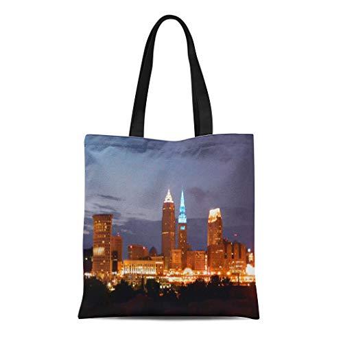 (Semtomn Cotton Line Canvas Tote Bag Skyline Cleveland Ohio Tower Blue Lights Westcreek Souvenir City Reusable Handbag Shoulder Grocery Shopping Bags)