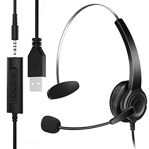 USB Headset & 3.5mm Jack Phone Headphone 2 in 1,HUET PC Headphone with Microphone Noise Cancelling & Audio Controls,Call…