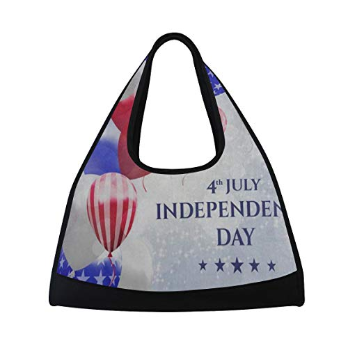 HUVATT Gym Bag Colorful Balloon American Flag Happy Independence Day Women Yoga Canvas Duffel Bag Tennis Racket Tote Bags -