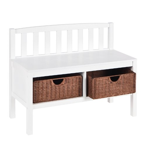 Southern Enterprises Hall Storage Bench with Brown Rattan Storage Baskets,  Chic White Finish