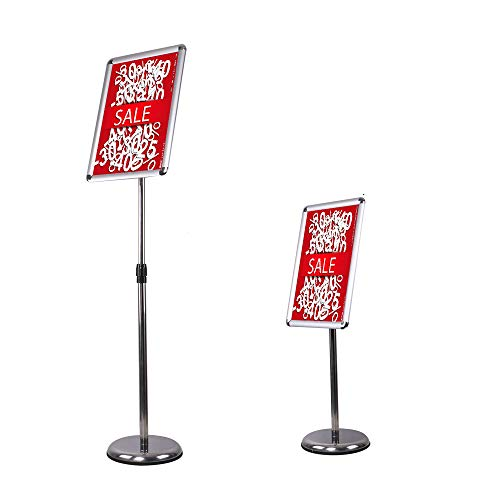 (Sign Holder Poster Stand Adjustable Pedestal Aluminum Snap Open Frame for 11x17 Inches with Heavy Round Base, Both Vertical and Horizontal Sign Displayed (Silver))