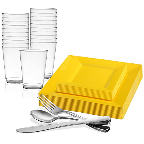 Disposable Plastic Dinnerware Set for 60 Guests - Includes Fancy Square Yellow Dinner Plates, Dessert/Salad Plates, Silverware Set/Silver Cutlery & Cups For Wedding, Birthday Party & Other Occasions