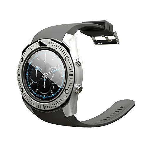 GPS Smart Watch with SIM Card Passometer Monitor Classical Watch Clock Wrist Watch for Men Connect Android iOS 16GB TF Card,Silver ()
