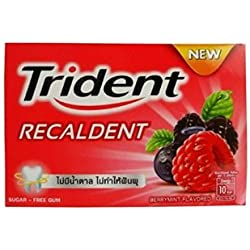 Trident Recaldent Chewing Gum Berrymint Flavored Sugar Free Dental Health Net Wt 11.2g(pack of 9)