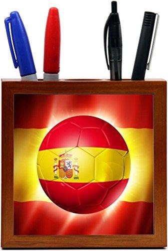 Rikki Knight Brazil World Cup 2014 Spain Team Football Soccer Flag Design 5-Inch Tile Wooden Tile Pen Holder (RK-PH44251) by Rikki Knight