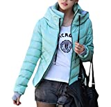Cromoncent Women's Warm Quilted Thickened Stand Collar Hoodie Jacket Slim Fit Parkas Coats Sky Blue XS