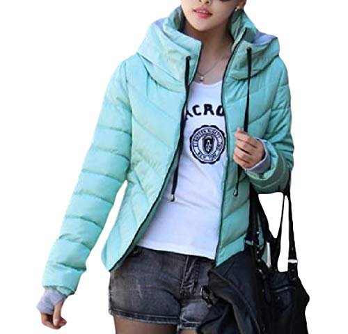 Cromoncent Women's Warm Quilted Thickened Stand Collar Hoodie Jacket Slim Fit Parkas Coats Sky Blue XS by Cromoncent