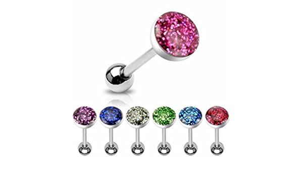 316L Surgical Steel Tongue Piercing Barbell with Red Dot Epoxy Covered Crystals