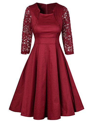 Red Square Neck Dress - 6