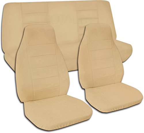 Totally Covers Fits 1997-2006 Jeep Wrangler TJ Solid Color Seat Covers: Tan - Full Set: Front & Rear (22 Colors) 1998 1999 2000 2001 2002 2003 2004 2005 2-Door Complete ()