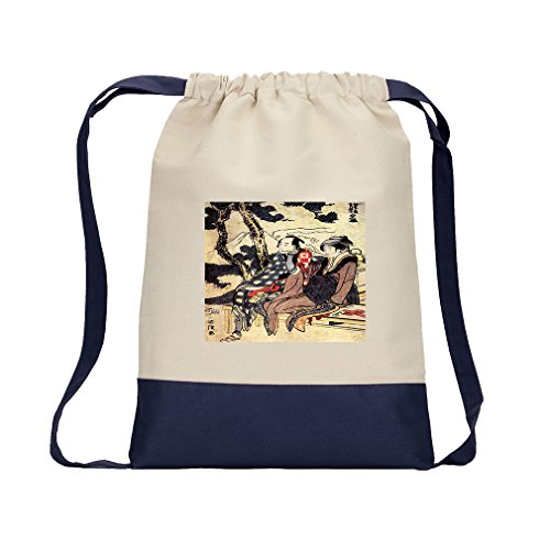 Traveling Couple (Hokusai) Canvas Backpack Color Drawstring Bag - Navy by Style in Print