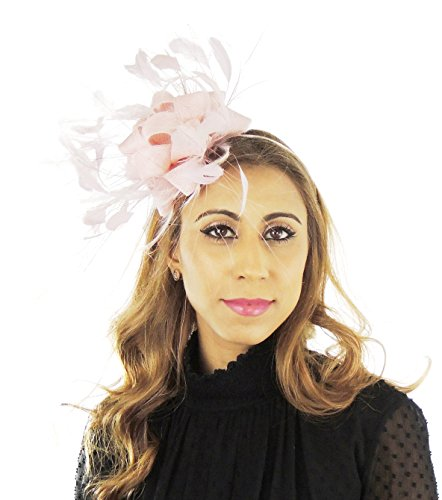Hats By Cressida Ladies Wedding Races Ascot Derby Fascinator Headband Baby Pink by Hats By Cressida