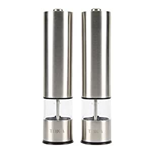 Automatic Stainless Steel Spice, Pepper, Salt Grinders and Mills -Ceramic, Battery Power, One-touch Operation Available for Home and Hotel Set of 2 by Teika