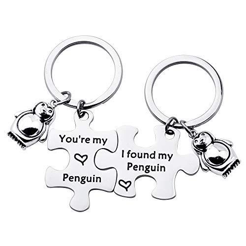 TGBJE You're My Penguin,I Found My Penguin Keychain Couple Puzzle Keychain Wedding Gift (Penguin Keychain Set)]()