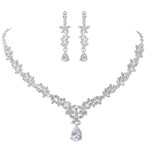 hinestone Jewelry Set for Women with Necklace Earrings in Flower Cubic Zincon Clip ()