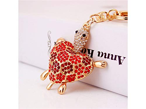 Car Keychain, Cute Diamond Love Back Shell Turtle Keychain Animal Key Trinket Car Bag Key Holder Decorations(Red) for Gift by Huasen