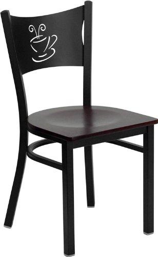 Flash Furniture 4 Pk. HERCULES Series Black Coffee Back Metal Restaurant Chair - Mahogany Wood Seat