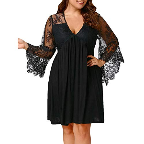 HULKAY Plus Size Elegant Sexy Dresses for Women-Women's Solid Lace V-Neck Cocktail Fashion Mini Dress(Black,XL) by HULKAY (Image #1)