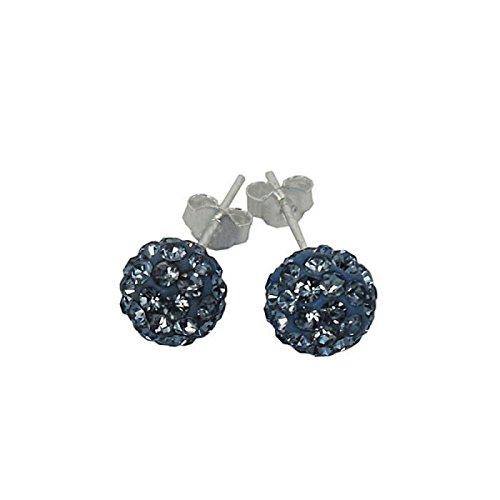 Clous d'oreilles en Agent massif 925/1000 et cristaux 8mm
