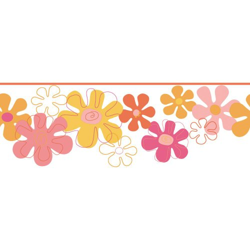 York Wallcoverings York Kids IV - Cenefa de flores, Muestra, Orange .84