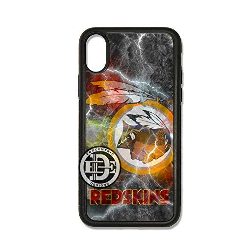 ((iPhone Xs MAX) EGOCENTRIC DESIGN & CO. Colorful Redskins Football Art TPU Rubber Silicone Phone Case)
