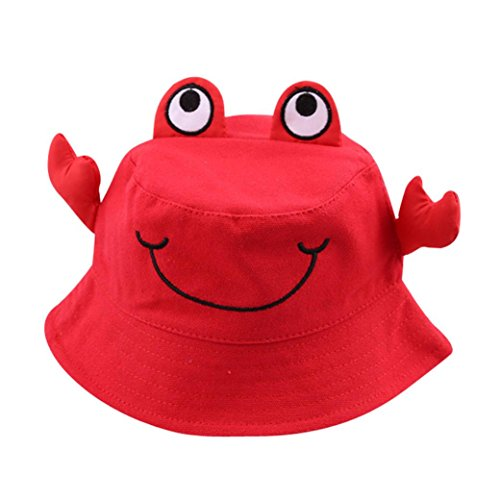 (Tiean Kids Toddlers Baby Cute Colorful Smiling Crab Adjustable Rope Cap Bucket Hat Reversible Sun Hat)