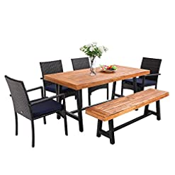 Garden and Outdoor PHI VILLA 6 PCS Outdoor Patio Dining Set, 1 Acacia Wood Table & 1 Wooden Bench & 4 Cushioned Wicker Chairs, Dining… patio dining sets