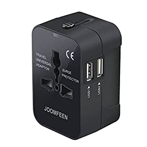 Travel Adapter, JOOMFEEN Worldwide All in One Universal Power Converters Wall AC Power Plug Adapter Power Plug Wall Charger with Dual USB Charging Ports for USA EU UK AUS Cell phone laptop (Black)
