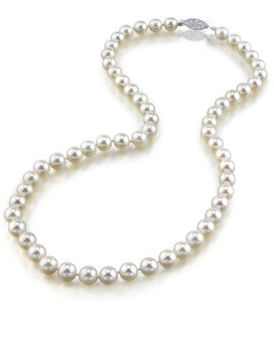 14K Gold 6.0-6.5mm Japanese Akoya Saltwater White Cultured Pearl Necklace - AA+ Quality, 16'' Choker Length by The Pearl Source