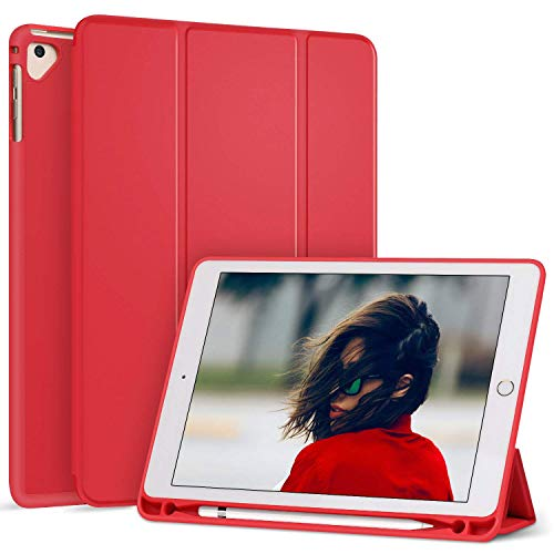Ztotop Newest iPad 9.7 Inch 2018 Case with Pencil Holder - Lightweight Soft TPU Back Cover and Trifold Stand with Auto Sleep/Wake, Protective for Apple iPad 6th Generation(A1893/A1954), Red