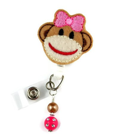 Brown Sock Monkey - Nurse Badge Reel - Retractable ID Badge Holder - Nurse Badge - Badge Clip - Badge Reels - Pediatric - RN - Name Badge Holder